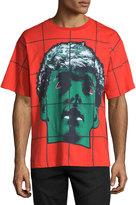 Moschino Grid Statue-Print Short-Sleeve T-Shirt, Red