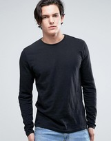 Solid Long Sleeve T-Shirt In Black