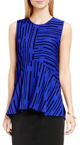 Vince Camuto Print Sleeveless Ruffle Front Blouse (Regular & Petite)