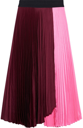 A.L.C. Grainger Color-block Pleated Crinkled-satin Midi Skirt