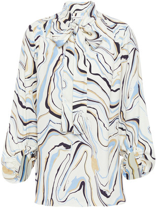 Chinti and Parker Pussy-bow Printed Twill Blouse