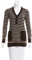 Tory Burch Striped V-Neck Sweater