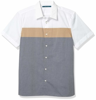 Perry Ellis Men's Color Block Short Sleeve Button-Down Shirt