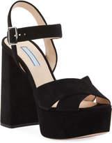 Prada Suede Platform Crisscross Sandals