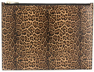 Saint Laurent Large Leopard Print Clutch