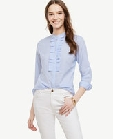 Ann Taylor Striped Ruffle Pleat Poplin Blouse