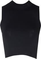 Glamorous Petite Black Cropped Polo Neck Top