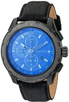 Nautica Men's NAD21504G NST 101 Black Stainless Steel Watch with Leather Band