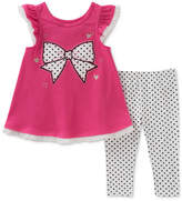 Kids Headquarters 2-Pc. Bow Graphic-Print Tunic & Dot-Print Leggings, Toddler Girls