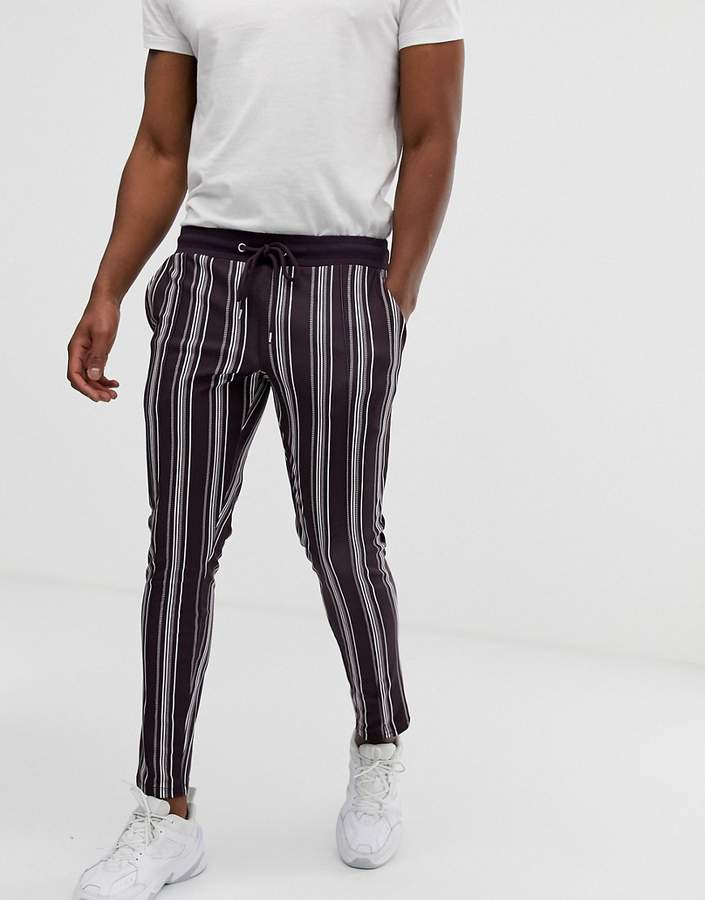853e3e5a Design DESIGN skinny sweatpants in poly tricot fabric with all over stripes