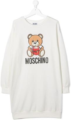 MOSCHINO BAMBINO TEEN teddy bear logo sweatshirt dress