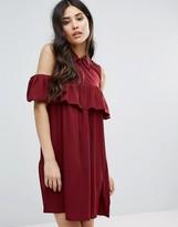 AX Paris Cold Shoulder Frill Mini Smock Dress
