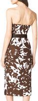 Michael Kors Strapless Cutout Floral-Print Dress