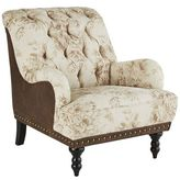 Pier 1 Imports Chas Earth Brown & Taupe Floral Armchair