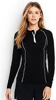 Classic Women's Petite Long Sleeve Half-zip Rash Guard-Deep Sea/White