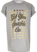 River Island Girls grey sparkly Christmas T-shirt