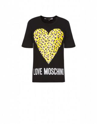 Love Moschino T-shirt Leopard Heart Woman Black Size 38 It - (4 Us)