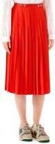 Gucci Sable Wool Belted Pleated Midi Skirt