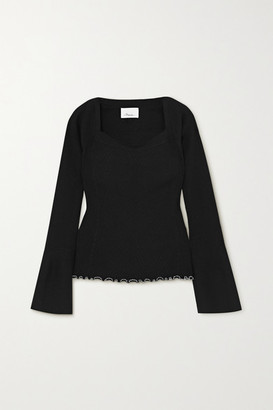 3.1 Phillip Lim Ruffled Ribbed-knit Sweater - Black