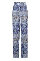 Select Fashion Fashion Womens Blue Paisley Tile Palazzo - size 10