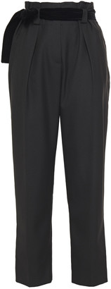 Claudie Pierlot Cropped Belted Twill Tapered Pants