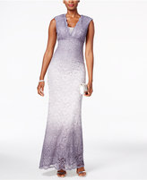 Betsy & Adam Ombré Glitter Lace Gown