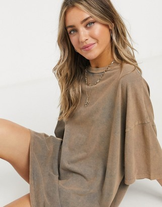 ASOS DESIGN oversized T-shirt dress in tan