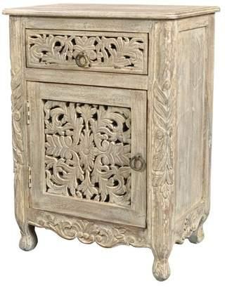 Taran Designs Aria 1-Drawer 1-Door Carved Nightstand, Left Door