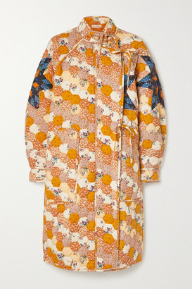 Ulla Johnson Sabreen Quilted Patchwork Floral-print Cotton Coat - Mustard