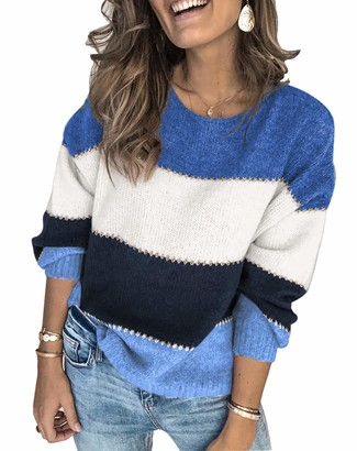 Ancapelion Womens Striped Colour Block Jumper Long Sleeve Chunky Sweater Crew Neck Knit Pullover Tops Knitwear for Ladies