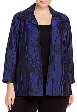 Caroline Rose Plus Floral-Patterned Textured Jacket