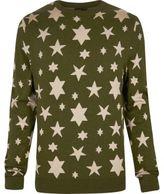 River Island MensGreen YMC star print knitted sweater