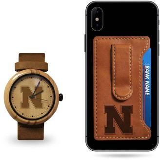 Sparo Nebraska Cornhuskers Wood Watch and Phone Wallet Gift Set