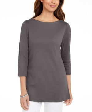 Karen Scott Plus Size Cotton Boatneck Tunic, Created for Macy's