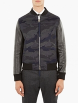 Valentino Camouflage Wool And Leather Bomber Jacket