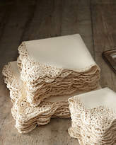 Horchow 12 Ivory Crochet-Edge Tea Napkins