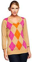Denim & Co. 3/4 Sleeve V-neck Argyle Sweater
