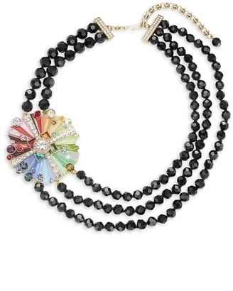 Heidi Daus Rhinestone Crystal Three-Stand Beaded Color Wheel Necklace