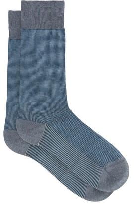 Pantherella Tewkesbury Birdseye-knit Socks - Light Blue