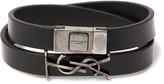 Saint Laurent - Leather Silver-Tone Wrap Bracelet
