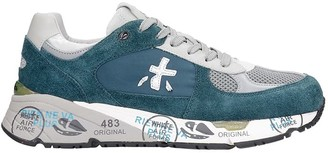 Premiata Mase Sneakers In Green Suede And Fabric