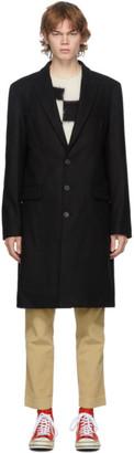 Palm Angels Black Wool Logo Coat