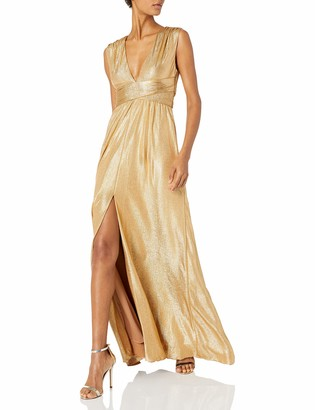 Halston Women's Sleeveless V Neck Jersey Gown with Wrap Tie & Front Slit