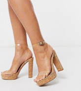 Barely There ASOS DESIGN Wide Fit Nutshell clear platform heeled sandals in cork