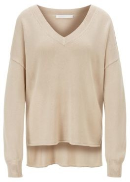 HUGO BOSS Relaxed Fit Knitted Sweater With V Neckline - Light Beige
