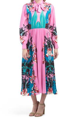 Tie Neck Pleated Skirt Midi Dress