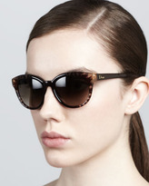Christian Dior Rounded Flower Sunglasses, Brown
