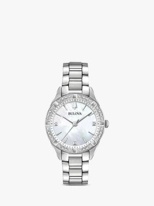 Bulova 96R228 Women's Sutton Diamond Bracelet Strap Watch, Silver/Mother of Pearl