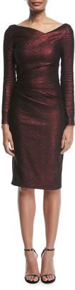 Talbot Runhof Pollex Asymmetric-Neck Metallic Scuba Cocktail Dress