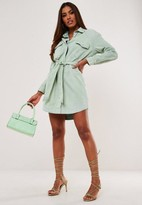 Missguided Green Oversized Belted Denim Shirt Dress